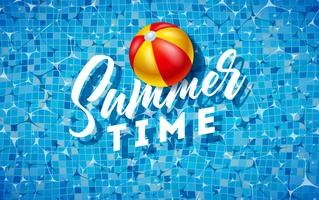 Summer Time Illustration with Beach Ball on Water in the Tiled Pool Background. Vector Summer Holiday Design Template