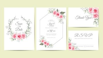 Modelo de cartões de convite de casamento Floral aquarela elegante. Mão desenho flor e ramos salvar a data, saudação, obrigado e cartões de RSVP multiuso