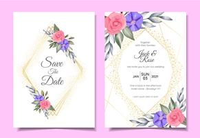 Modern Wedding Invitation Cards Template of Watercolor Floral, Golden Geometric Frame, and Sparkle. Save the Date and Greeting Card Multipurpose Design Concept