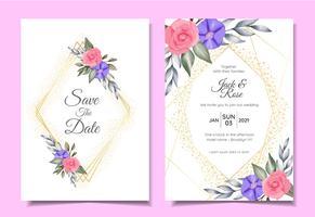 Moderna Bröllop Inbjudningskort Mall av Akvarell Blommor, Gyllene Geometriska Ram och Sparkle. Spara datum och hälsokort Flerfunktionsdesignkoncept