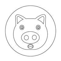 Icona di maiale carino