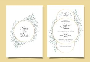 Minimalist Vintage Wedding Invitation Set of Natural Floral Arangement with Elegant Circle Golden Frame. Cards Template Multipurpose like Poster, Cover Book, Packaging, and Other