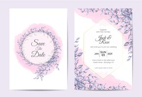 Modern Wedding Invitation Design of Branches with Blue Leaves and Watercolor Background. Trendy Cards Template Multipurpose like Poster, Cover Book, Packaging, and Other
