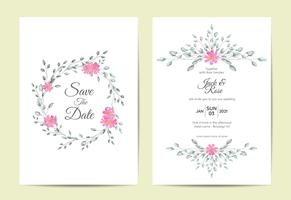 Minimalist Floral Frame Wedding Invitation Set Vintage Design Concept. Cards Template Multipurpose like Poster, Cover Book, Packaging, and Other