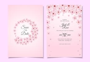 Set of Watercolor Cherry Blossom Wedding Invitation Template. Beautiful Card Multipurpose Template
