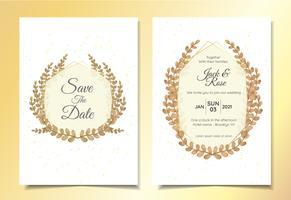 Plantilla de tarjetas de invitación de boda de hojas con marco y fondo abstracto chispa