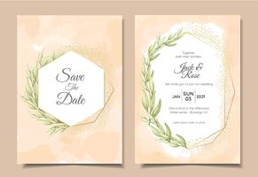 Vintage Bröllop Inbjudningskort med vattenfärg Bakgrund Textur, Geometrisk Gyllene Ram och Akvarell Hand Ritning Leaves. Multi-purpose Vector Template