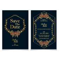 Goldene Rosen, die Einladungs-Schablonen-Satz Wedding sind. Luxus und Weinlese-Konzept des Entwurfes der Abwehr der Datums-und Einladungs-Karte mit goldenen Elementen und dunkelblauem Backgroun