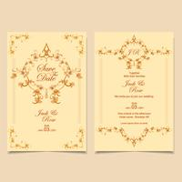 Bruiloft uitnodiging sjabloon Vintage Floral decoratieve zachte bruine kleuren. Vector EPS-10 volledig bewerkbaar