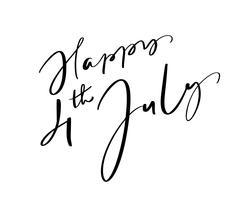 Vettore disegnato a mano lettering testo felice 4 luglio. Progettazione di frase di calligrafia dell'illustrazione per la cartolina d'auguri, manifesto, maglietta