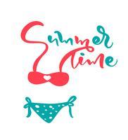 Título de texto de letras caligráficas vector horario de verano. Bonito traje de baño de mujer. Ilustración de dibujos animados aislado para su diseño