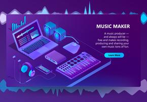 Vector 3d isometric site for music making