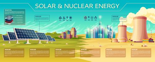 Vector solar, nuclear energy industry infographics