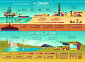 Vector oil industry ecological energy infographics