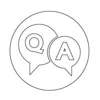 Icono de pregunta y respuesta burbuja de diálogo