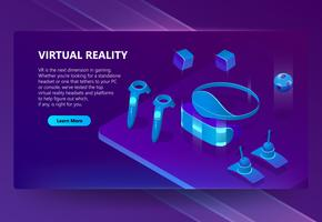 Vector background with gadgets for virtual reality
