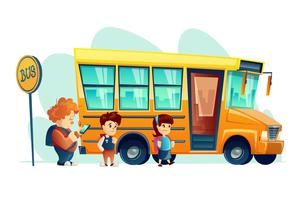 Vector illustration of children get on school bus on the stop sign. Transportation pupil. Banner for internet, design.