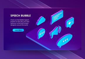 Ícones isométricos de vetor 3D de bolhas do discurso