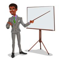 Vector 3d businessman in a presentation