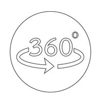 Angle 360 degrees icon vector