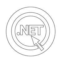 Icono de signo de red de puntos de dominio