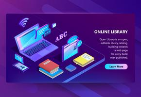 Vector site with online library, e-learning portal