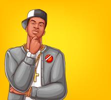 Vector pop art rap, hip-hop male character