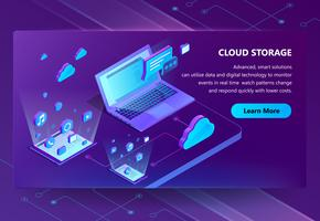 Cloud storage vector isometric concept background