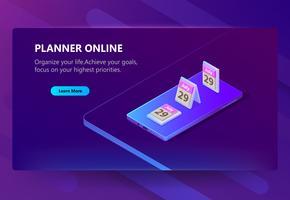 Vector sitesjabloon voor online planner, schema