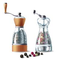 Vector set of pepper mills with peppercorns