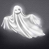 Vektorweißer Geist, Phantom. Halloween gruseliger Geist