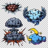 Vector conjunto de iconos de cómics de color.