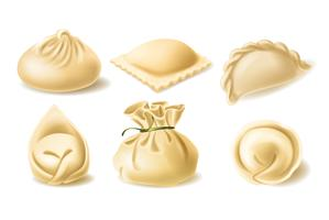 Realistic vector clipart of different dumplings