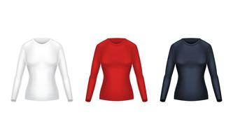 Vector realistic set of female long sleeve shirts