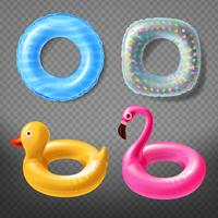 Vector realistic rubber rings - duck, pink, lifebuoy