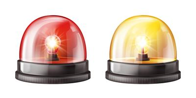 Siren alarm color lights 3D vector illustration