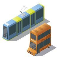Vector isometric double decker bus and tram