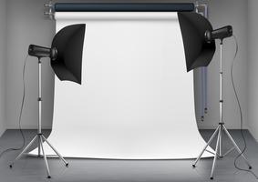Vector studio fotografico vuoto con apparecchi di illuminazione