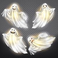 Fantasmi vettoriali, set fantasmi. Spiriti spettrali di Halloween