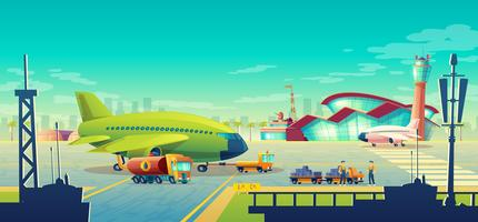 Vector cartoon airport landscape, airliner on runway
