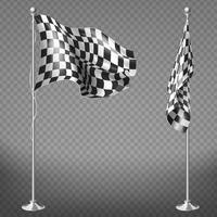 Vector set of checkered racing flags on poles