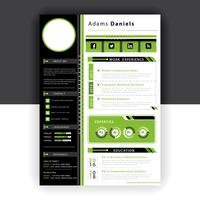 green resume template vector