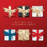 Set of Gift Box Top View Realistic Vector Illustration