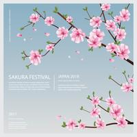 Japan Sakura Flower mit blühender Blumen-Vektor-Illustration