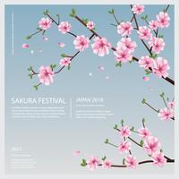 Japan Sakura Flower with Blooming Flowers Vector Illustration