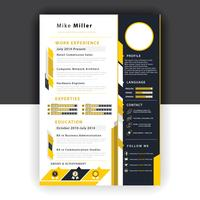 yellow resume template vector