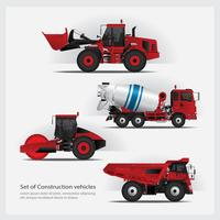 Construction Vehicles Set Vector Illustration