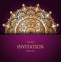 Elegant Save The Date card design. Vintage floral invitation card template. Luxury swirl mandala greeting card, gold, purple