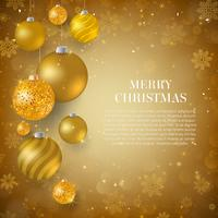 Christmas background with gold Christmas baubles. Elegant Christmas background with gold glitter evening balls
