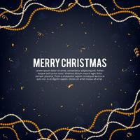 Vector illustration of merry christmas gold and black colors place for text, gold christmas ball garland, golden glitter baubles garland, pearly ball garlands and confetti